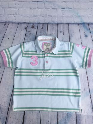 Joules baby blue green striped polo top
